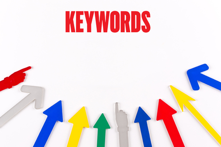 meta data: Colorful Arrows Showing to Center with a word KEYWORDS Stock Photo