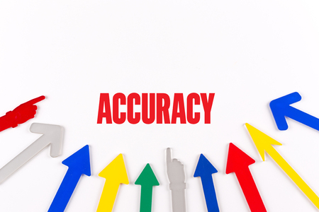 accuracy: Colorful Arrows Showing to Center with a word ACCURACY