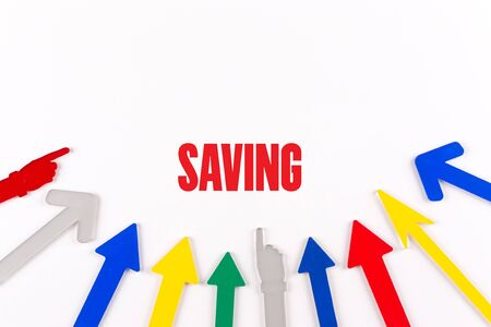 frugality: Colorful Arrows Showing to Center with a word SAVING