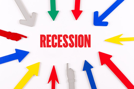 unemployment rate: Colorful Arrows Showing to Center with a word RECESSION