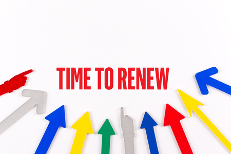 Colorful arrows showing to center with a phrase TIME TO RENEW