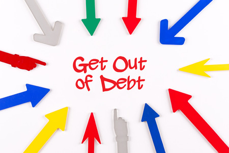 trouble free: Colorful Arrows Showing to Center with a word Get Out of Debt Stock Photo