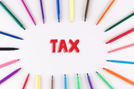 multi colored: Multi Colored Pen written TAX Stock Photo