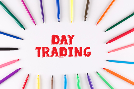 stock quotations: Multi Colored Pen written DAY TRADING