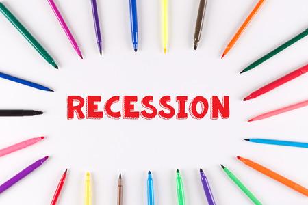 stagnation: Multi Colored Pen written RECESSION