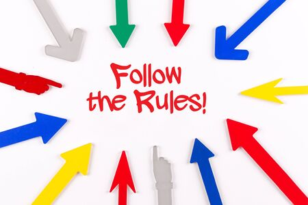 governing: Colorful Arrows Showing to Center with a word Follow The Rules!