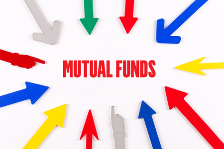 financial diversification: Colorful Arrows Showing to Center with a word MUTUAL FUNDS