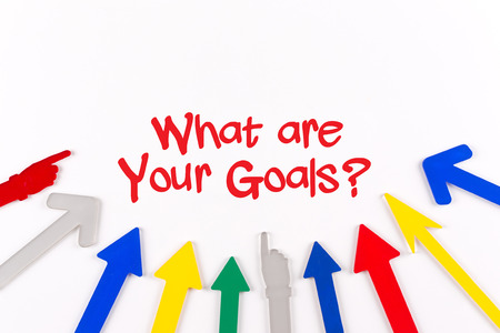 accomplishing: Colorful Arrows Showing to Center with a phrase What are Your Goals?