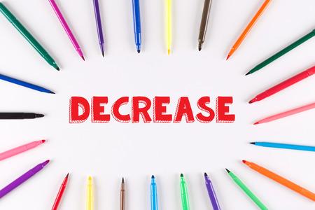 multi colored: Multi Colored Pen written DECREASE Stock Photo