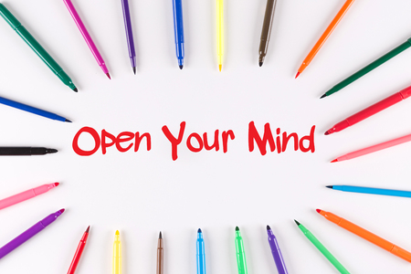 receptive: Multi Colored Pen written Open Your Mind phrase