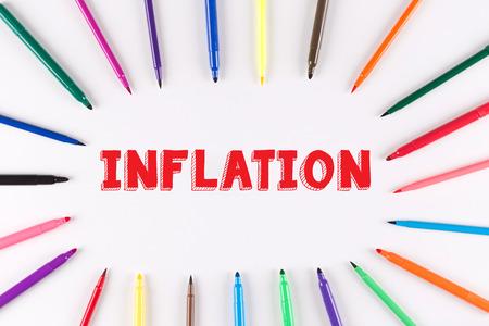 multi colored: Multi Colored Pen written INFLATION