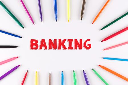 multi colored: Multi Colored Pen written BANKING