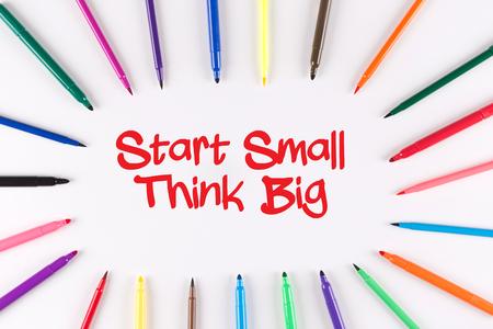 multi colored: Multi Colored Pen written Start Small Think Big