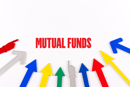 mutual: Colorful Arrows Showing to Center with a word MUTUAL FUNDS