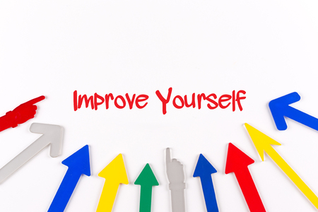 Colorful Arrows Showing to Center with a word Improve Yourself