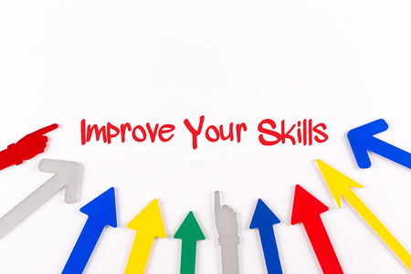 interpersonal: Colorful Arrows Showing to Center with a phrase Improve Your Skills Stock Photo