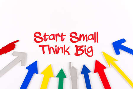 surpass: Colorful Arrows Showing to Center with a word Start Small Think Big Stock Photo