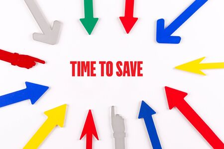 frugality: Colorful arrows showing to center with a phrase TIME TO SAVE Stock Photo