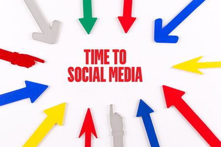 media center: Colorful arrows showing to center with a phrase TIME TO SOCIAL MEDIA