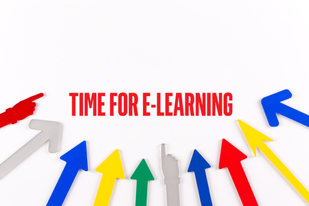 instances: Colorful arrows showing to center with a phrase TIME FOR E-LEARNING