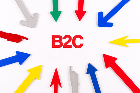 b2c: Colorful arrows showing to center with a phrase B2C Stock Photo