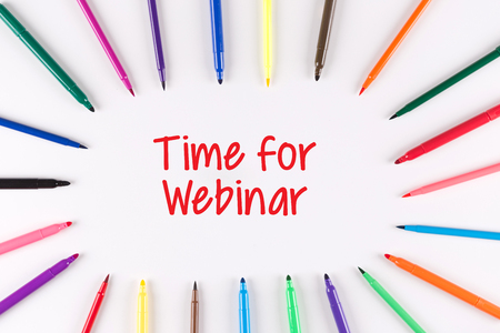livestream: Time For Webinar written on white background with multi colored pen Stock Photo