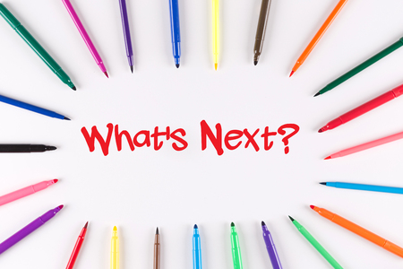 what's ahead: Multi Colored Pen written Whats Next? phrase Stock Photo