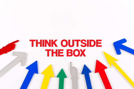 expressing artistic vision: Colorful arrows showing to center with a word THINK OUTSIDE THE BOX