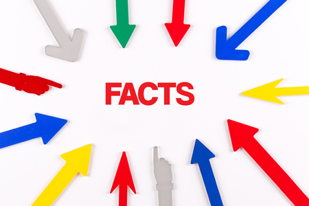 trustworthiness: Colorful arrows showing to center with a word FACTS Stock Photo