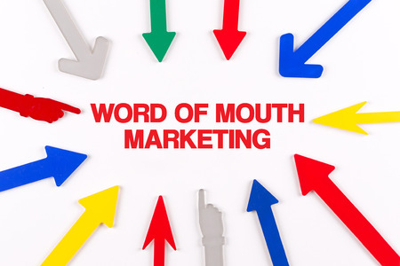 referrer: Colorful arrows showing to center with a word WORD OF MOUTH MARKETING