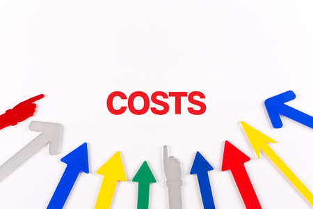 reorganization: Colorful arrows showing to center with a word COSTS
