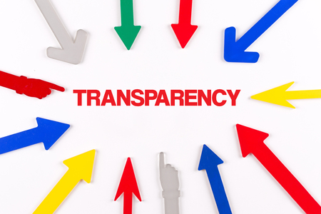 evident: Colorful arrows showing to center with a word TRANSPARENCY Stock Photo