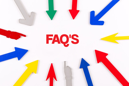 faqs: Colorful arrows showing to center with a word FAQS