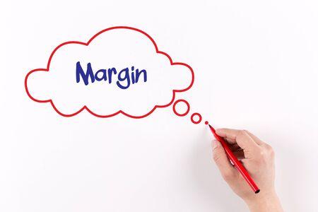 margin: Margen de escritura a mano en papel blanco, vista desde arriba Foto de archivo
