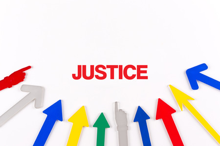 judicature: Colorful arrows showing to center with a word JUSTICE