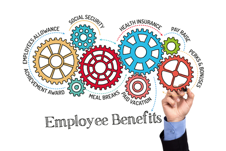 pay raise: Gears and Employee Benefits Mechanism on Whiteboard