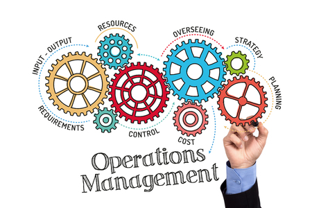 overseeing: Gears and Operations Management Mechanism on Whiteboard Stock Photo