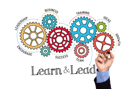 learn and lead: Gears and Learn and Lead Mechanism on Whiteboard Stock Photo