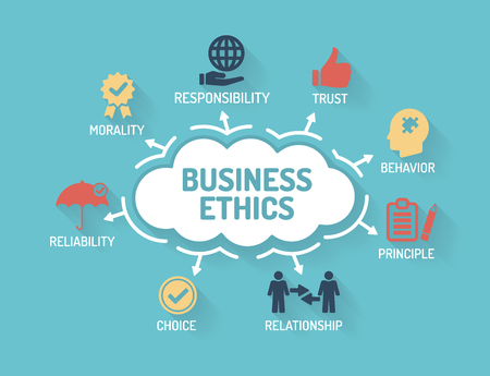 business ethics: Business Ethics - Chart with keywords and icons - Flat Design