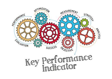歯車と KPI キー パフォーマンス工業? カトール機構  イラスト・ベクター素材
