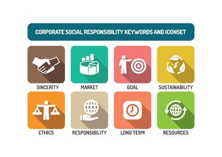 Responsabilità sociale d'impresa piatto Icon Set Vettoriali
