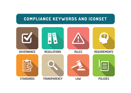 compliance: Compliance Flat Icon Set Illustration