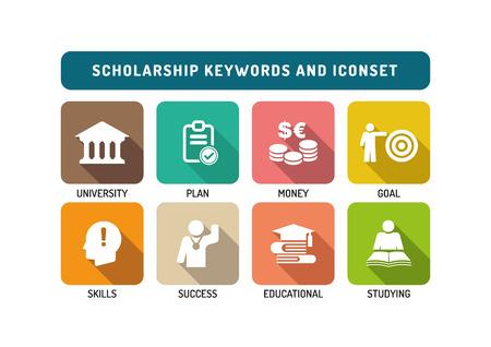 owe: Scholarship Flat Icon Set