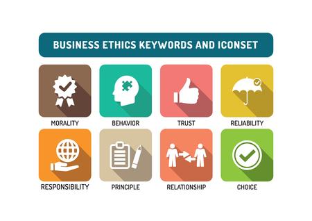 Business Ethics piatto Icon Set