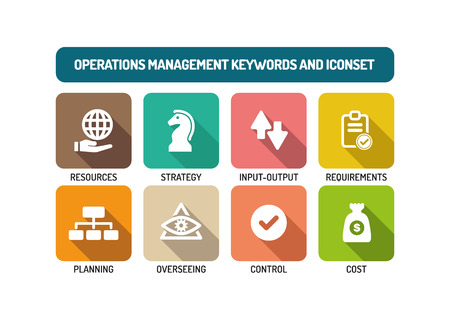 overseeing: Operations Management Flat Icon Set