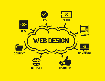 keywords: Web Design. Chart with keywords and icons on yellow background Illustration