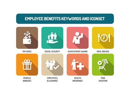Employee Benefits Wohnung Icon Set Vektorgrafik