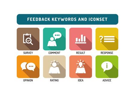 feedback: Feedback Marketing Flat Icon Set