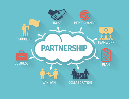 business relationship: Partnership - Chart with keywords and icons - Flat Design