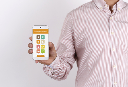 pay raise: Man showing smartphone Employee Benefits on screen